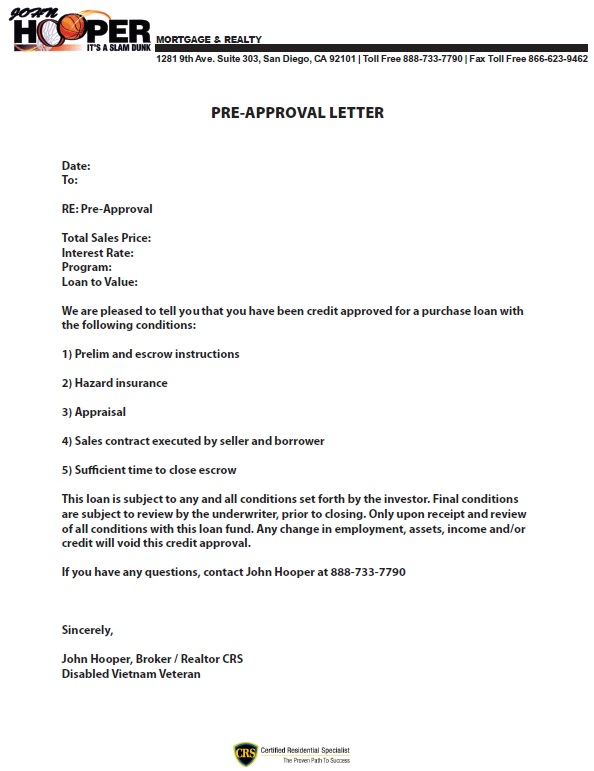Preapproval Letter | John Hooper Mortgage And Realty
